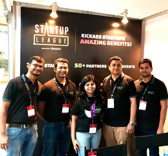 Oceo Water team with Tanisha Gupta from the Startup League at TechSparks 2017, Bangalore, India